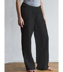 zanzea pierna ancha diseño cintura con cordón pantalones