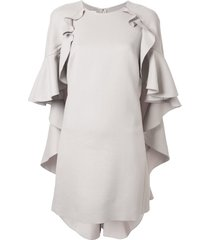 giambattista valli ruffle cape shift dress - grey