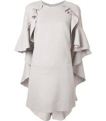 giambattista valli ruffle cape shift dress - grey