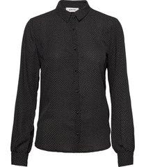 edna print shirt overhemd met lange mouwen zwart modström