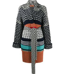 missoni belted knit coat - black