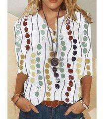 camicetta con colletto alla coreana a maniche lunghe con stampa a pois multicolore