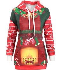 christmas drawstring kangaroo pocket printed tunic hoodie