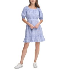 dkny printed pleated ruffled-hem fit & flare dress