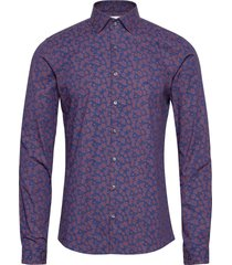 stretch printed extra slim shirt overhemd casual paars calvin klein