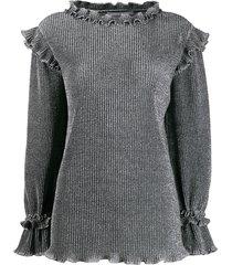 alberta ferretti metallic knit ruffled sweater - grey