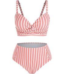 plus size twisted striped tankini swimwear