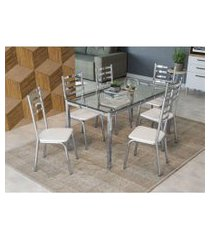 conjunto mesa reno com tampo de vidro kappesberg branco