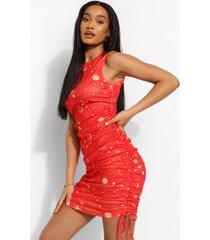 geplooide sterrenprint strand mini jurk, red