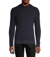 naadam men's waffle-knit cotton & cashmere hoodie - smoke - size xxl