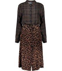 geisha jurk long check & leopard black