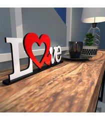 escultura de mesa love dois coraã§ãµes vermelho branco ãšnico - multicolorido - dafiti