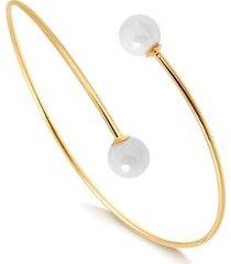 bracelete regulável com duas pérolas de água doce folheado francisca joias