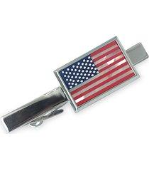 saks fifth avenue men's american flag silvertone & mother-of-pearl tie bar