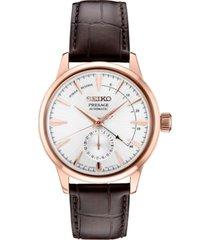 seiko men's automatic presage brown leather strap watch 42mm