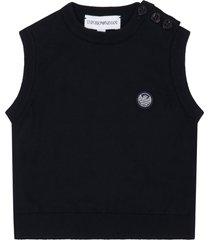 armani collezioni blue vest for babyboy with iconi eagle