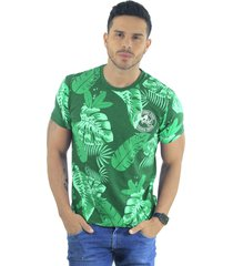 camiseta hombre manga corta slim fit verde marfil plants