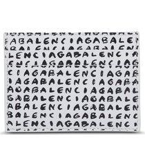 balenciaga leather card holder with allover logo print