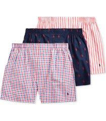 polo ralph lauren men's woven cotton boxers 3-pack