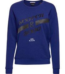 basic sweat with blauw artworks sweat-shirt tröja blå scotch & soda