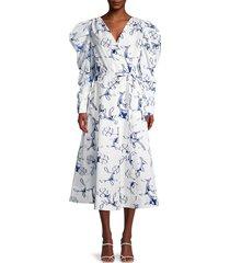 oscar de la renta women's floral surplice midi dress - white azure - size 6