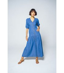 vestido adrissa chambray azul medio con escote v