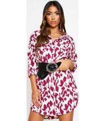 animal print oversized shirt dress, burgundy