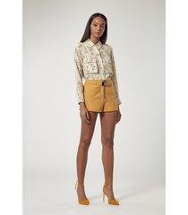 shorts tencel sarouel mostarda
