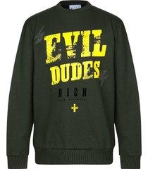 john richmond designer sweatshirts, deep forest and yellow dudes print cotton men's sweater
