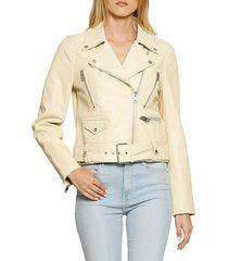 walter baker women's flissy leather jacket - banana - size m