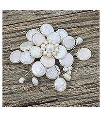 pearl brooch pin, 'morning chrysanthemum' (thailand)