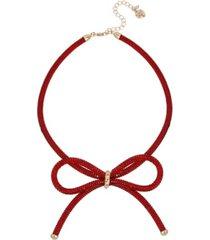 "betsey johnson festive mesh bow necklace, 16"" + 3"" extender"