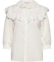 nelly 3/4 shirt blouse lange mouwen wit soft rebels