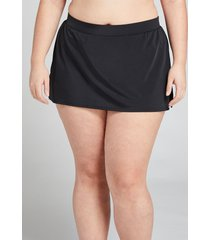 lane bryant women's slitted swim skirt 14 black