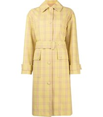 msgm plaid-pattern belted coat - neutrals