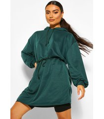 hooded draw string belted sweatshirt dress, green