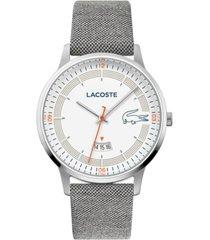 lacoste men's madrid gray nylon strap watch 41mm
