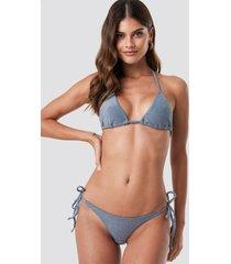 na-kd swimwear sparkle triangle bikini panty - blue