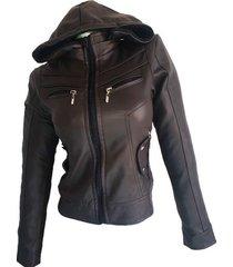 chaqueta para mujer con capota en cuerotex