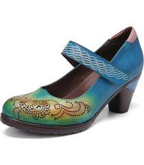 socofy ritagli a contrasto in pelle vintage gancio tacco grosso con cinturino ad anello mary jane décolleté scarpe eleganti