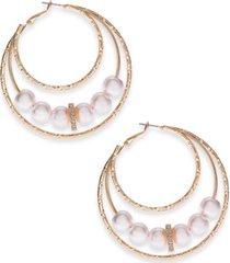 thalia sodi gold-tone bead triple hoop earrings, created for macy's