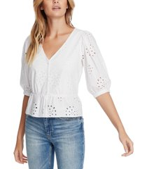 1.state eyelet-embroidered peplum top