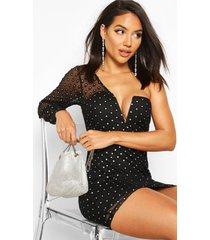 one shoulder glitter polka dot mesh mini dress, black