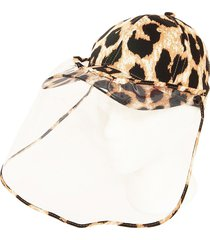 bindya women's animal-print face shield ball cap - brown