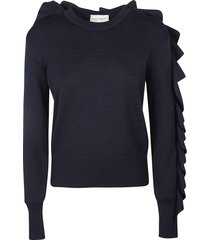 alexander mcqueen ruffle sided ribbed sweater