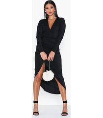 ax paris long sleeve v neck midi dress fodralklänningar