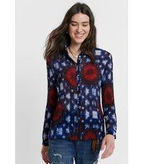 pleated tie dye print shirt - blue - xl