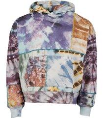 oversized tie dye patchwork hoodie