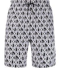 dolce & gabbana logo print swim shorts - white