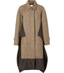 burberry scarf detail wool mohair tweed car coat - brown